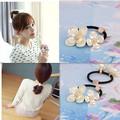 New Fashion Design Pure Color Elastics Rope Holder Imitation Shell Petal Rhinestone Scrunchy Gum For Hair