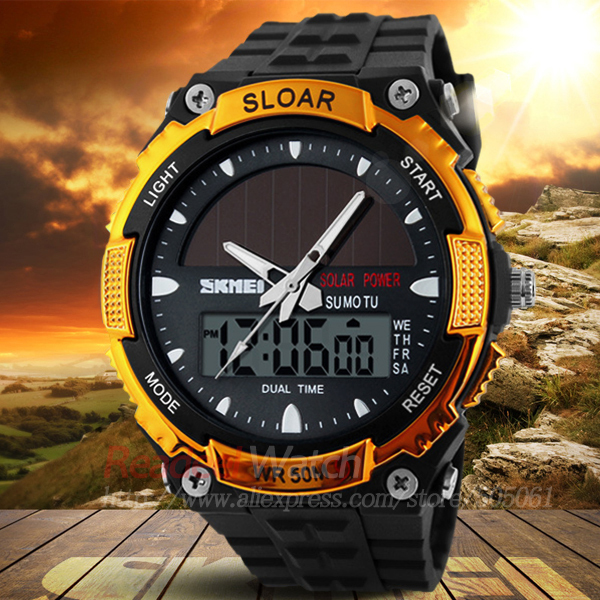 2015 Men Sports Watches SKMEI SOLAR POWER LED Digital Quartz Watch 5ATM Waterproof Outdoor Dress Solar Watches Military Watch(China (Mainland))