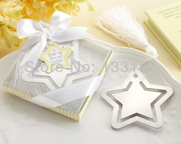 Free shipping 200pcs/lot Creative stainless steel bookmark a star is born Bookmark baby shower party favors wedding sounvenirs(China (Mainland))