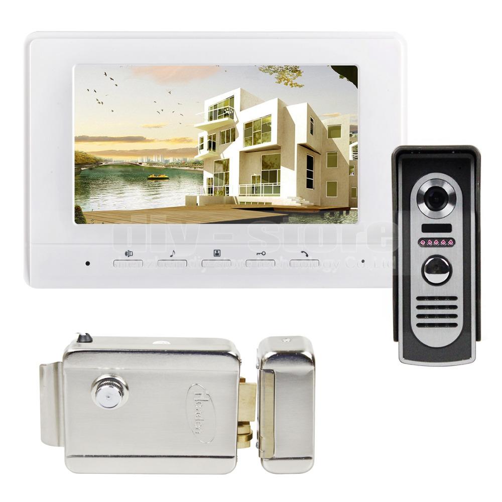 7inch Video Intercom Video Door Phone 600TV Line IR Night Vision Outdoor Camera + Electric Lock(China (Mainland))