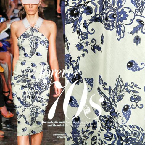 Imported silk floss spun cotton dress material true blue cloth fabric Pteris - Sanni Silk store