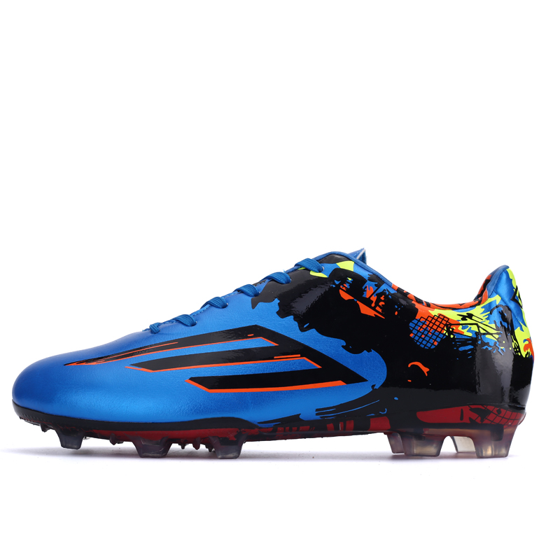 Men Children Soccer Shoes Leather Football Traning Sport Sneakers Blue/Yellow Men Soccer Boots Outdoor Long Spike Football Cleat(China (Mainland))