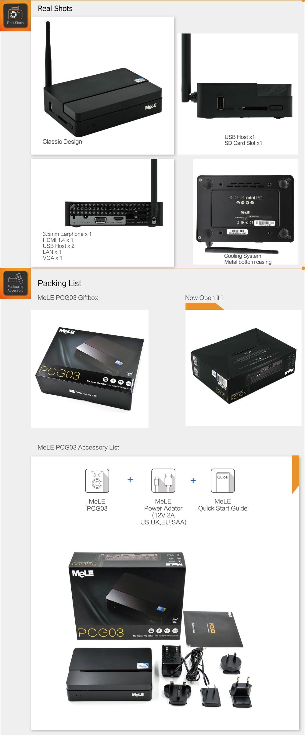 32 ГБ Меле PCG03 четырехъядерный мини-ПК Intel атом z3735f 2 Гб оперативной памяти 1080р HDMI 1.4 VGA-выход локальной сети WiFi с Bluetooth ОС Windows 8.1 с Bing