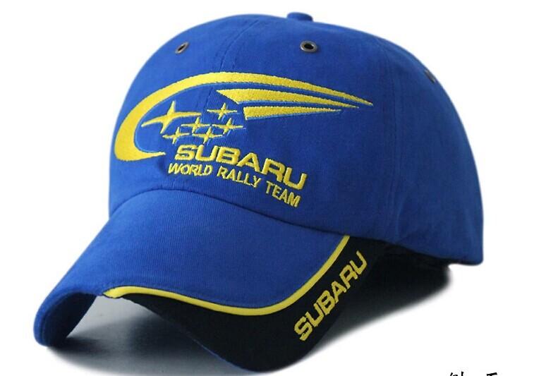 Blue rally racing subaru fans cap F1 fans moto gp motorcycle rider racing caps car logo Cap(China (Mainland))