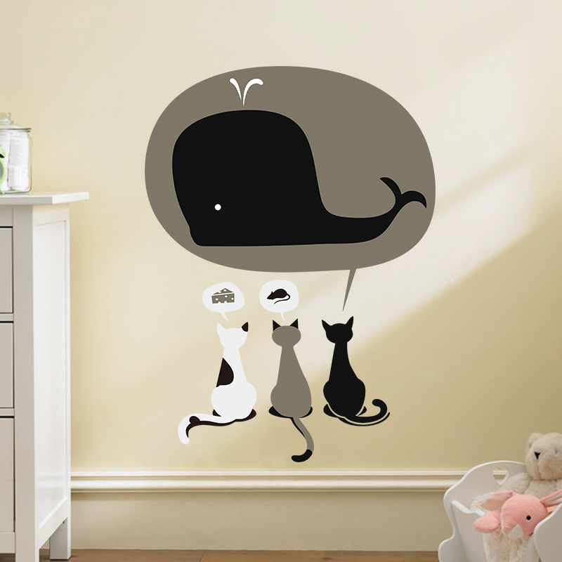 Cat cartoon Dream Cake Mouse Whale wall stickers Kids room decor home decals girls gift kids room 1489. baby room decor 3.0(China (Mainland))
