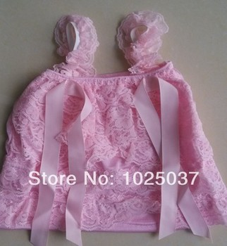 Cute Baby Lace Top With Straps Girl Clothing Wirh Ribbons Free Shipping