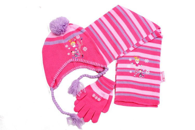 2014 new children boy girls winter snow cartoon striped three-piece christmas gift children's gloves scarves hats scarf glove(China (Mainland))