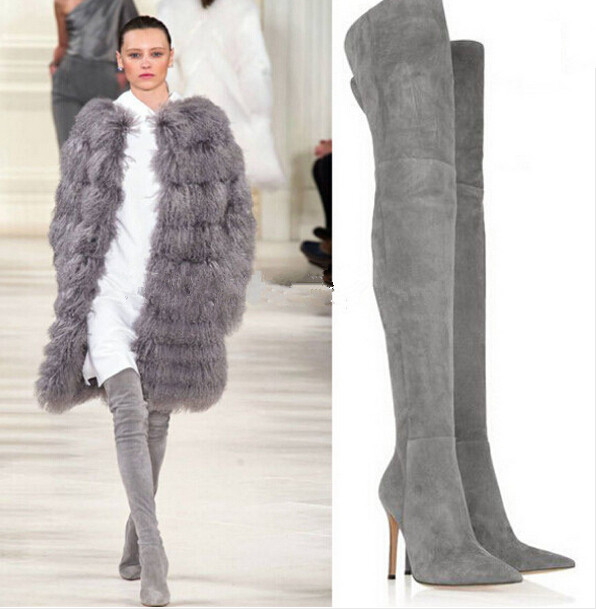 Popular Plus Size Grey Suede Thigh High Boots-Buy Cheap Plus Size