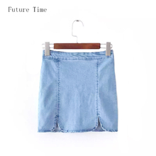 Buy 2016 New European Style Fashion Women Skirts,solid color denim female short jeans,casual Empire High Waist mini skirt,C1084 for $14.99 in AliExpress store
