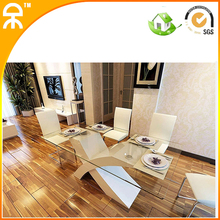 (1 table +6 chair /lot) modern glass dining table for dining room #CET011(China (Mainland))