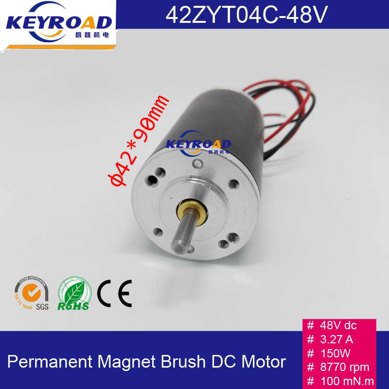 Customization 48Vdc 150W 8770rpm 3.27A 42mm Permanent Magnet Brush DC Motor with Speed Stable and Low Noise Free shipping(China (Mainland))