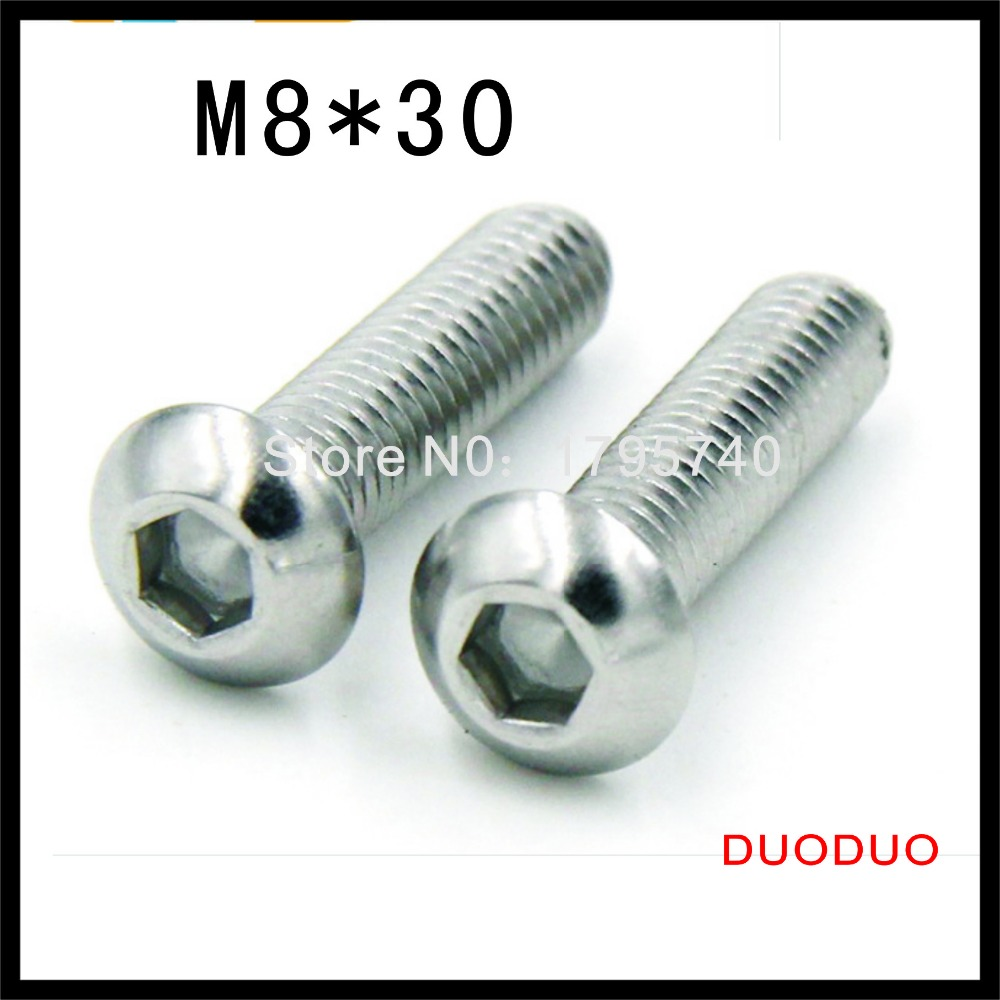 50pcs ISO7380 M8 x 30 A2 Stainless Steel Screw Hexagon Hex Socket Button Head Screws<br><br>Aliexpress
