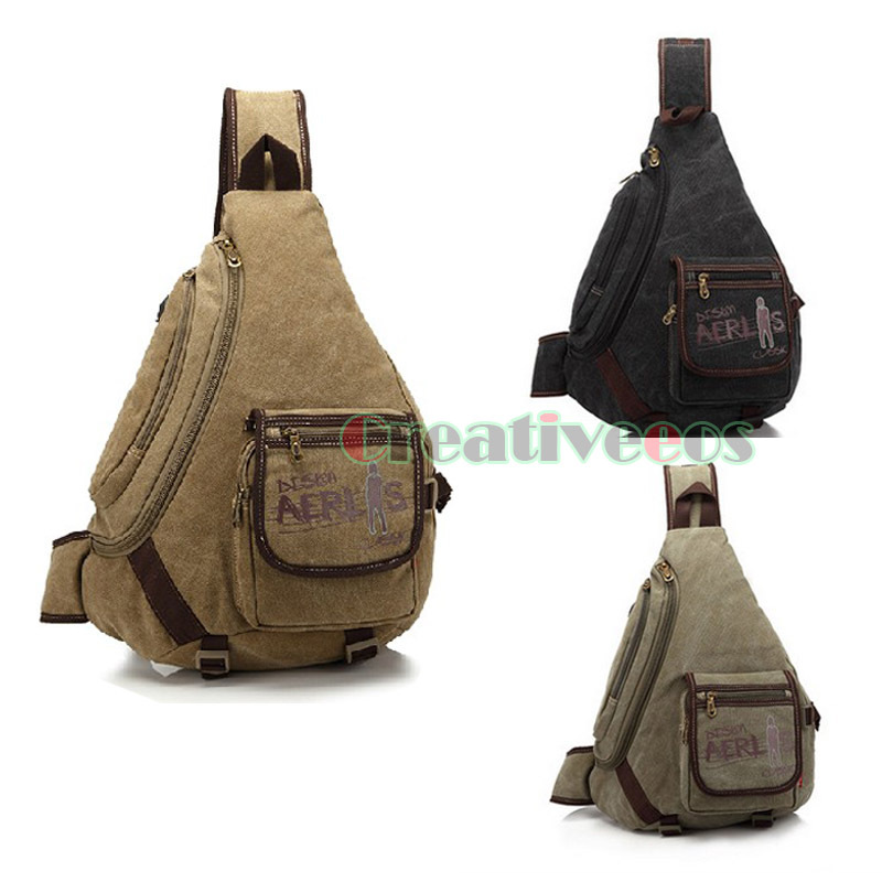 New Mens Canvas Vintage Travel Hiking Camping High Capacity Backpack Cross Body Messenger Shoulder Triangle Sling Chest Bag<br><br>Aliexpress