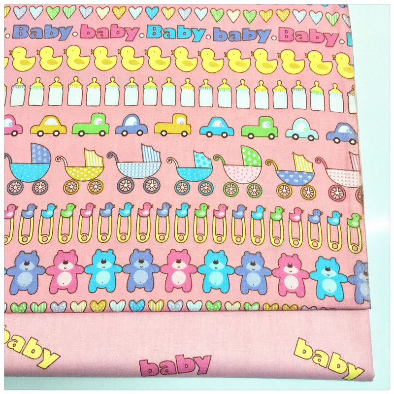 1269419 cute baby pink cartoon print cotton fabric telas for Cute baby fabric prints