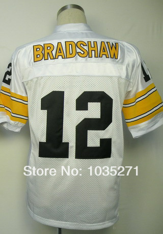 Excellent Authentic!#12 Terry Bradshaw Jersey Throwback American Football Jersey,Stitched Logo Embroidery Sport Jersey Authentic