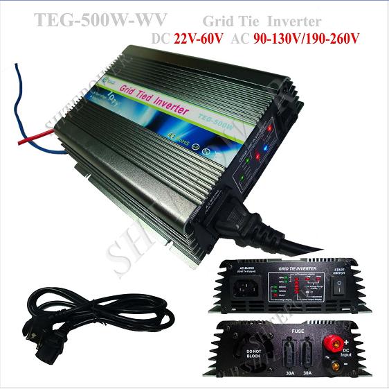 solar power 22-60v dc to 110v 120v 220v 230v 240v ac grid tie inverters 500w(China (Mainland))