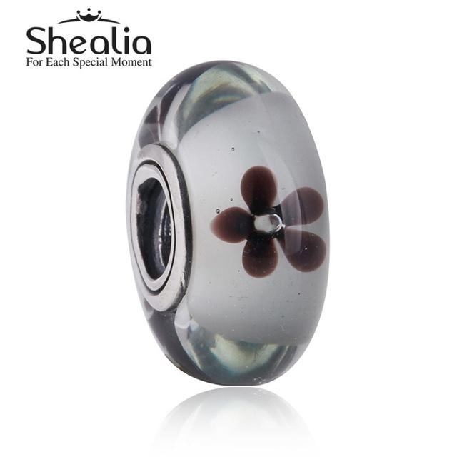 Shealia ювелирные изделия стерлингового серебра 925 вишневый цвет муранского стекла шарм бусины для женщин браслеты сделай сам ювелирное Ht294