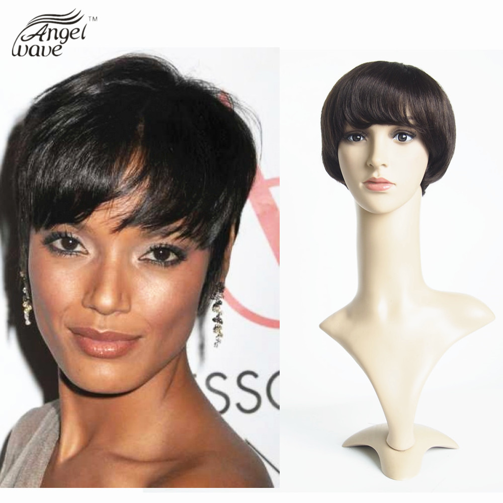 Hairstyles For Women Short Wigs For Black Women 6inch Brazilian Virgin Human Hair Short Straight Machine Made Lace Front Wig(China (Mainland))