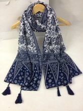 New Fashion Soft Cotton Blend Scarf with Tassels and Floral Print for Women Oversize(China (Mainland))