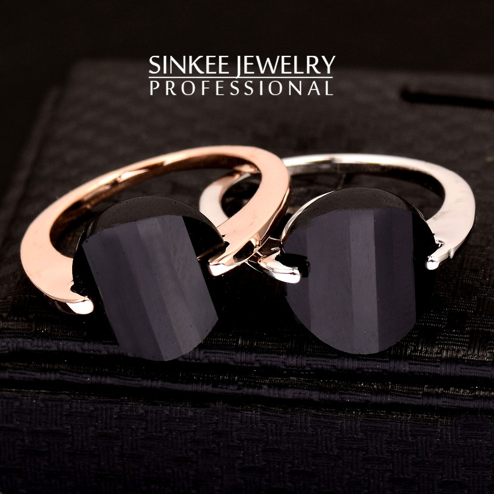 Hot Sale Solid Black Rings For Women 18K Gold Plated Brand Jewelry Jz022 Silver & Gold Color Size 6 7 8(China (Mainland))