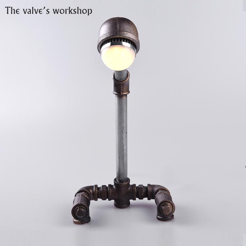 HOT Luxury Retro Loft Style Antique Vintage Desk Table Wrought iron pipe lamp Decorate Lamp DIY Handmade For Loft Cafe Bar-B006(China (Mainland))