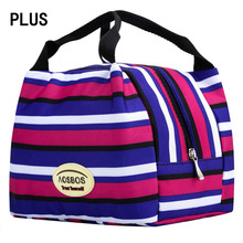 Free shipping thermal Canvas Stripe multicolor picnic Lunch Bag box Portable Insulated cooler bag For women kids children men(China (Mainland))