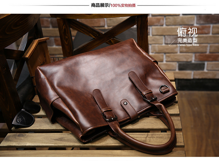 REGEM mens tote shoulder bag fashion vintage Genuine leather Portable