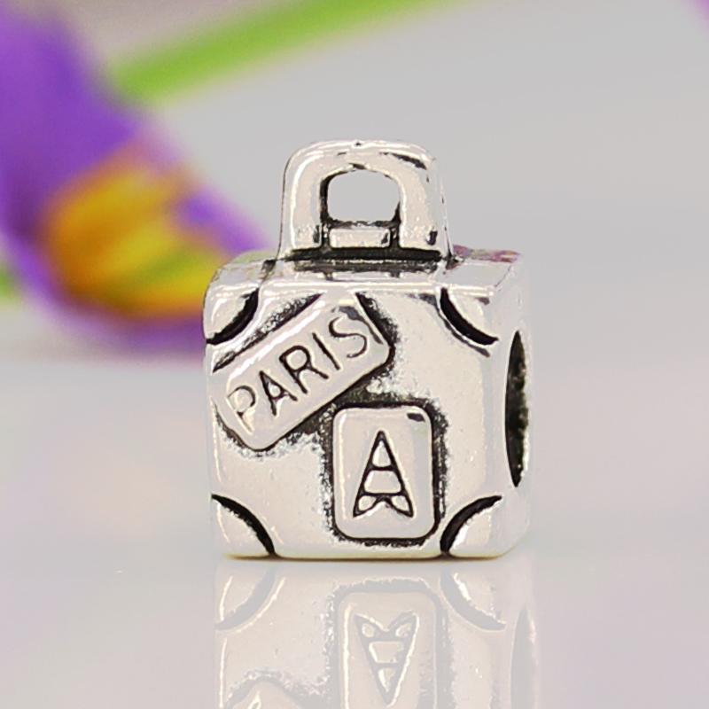 Бесплатная доставка ювелирных украшений серебро 925 очарование европейского ствол бусины Go Travle бусины Fit пандора браслеты и браслеты ожерелье YW15097