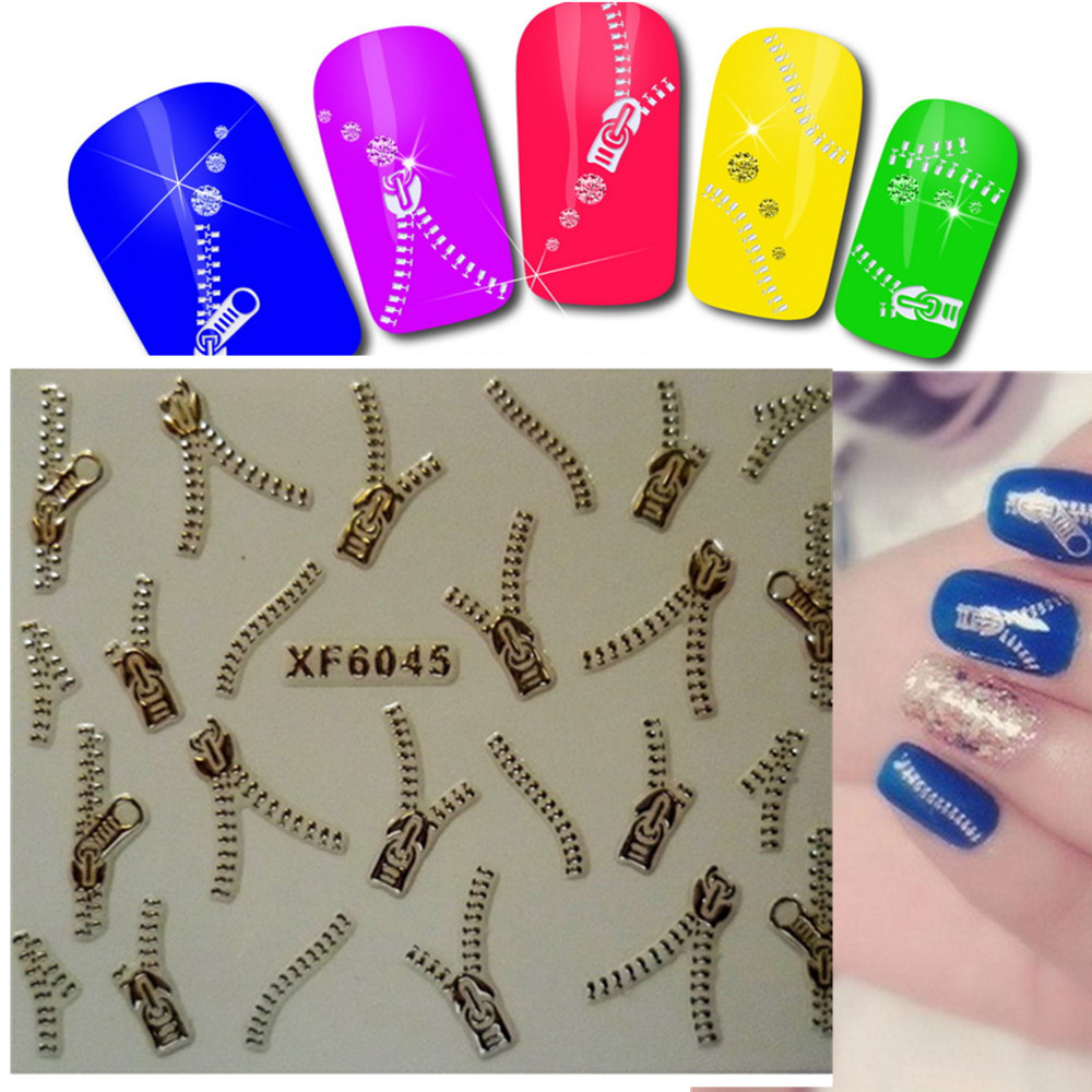 1Sheet Fashion Silver Zipper 3d Nail Art Stickers DIY Tips Nails Manicure Wedding Party Decorations Nail Art Accessory XF6045(China (Mainland))