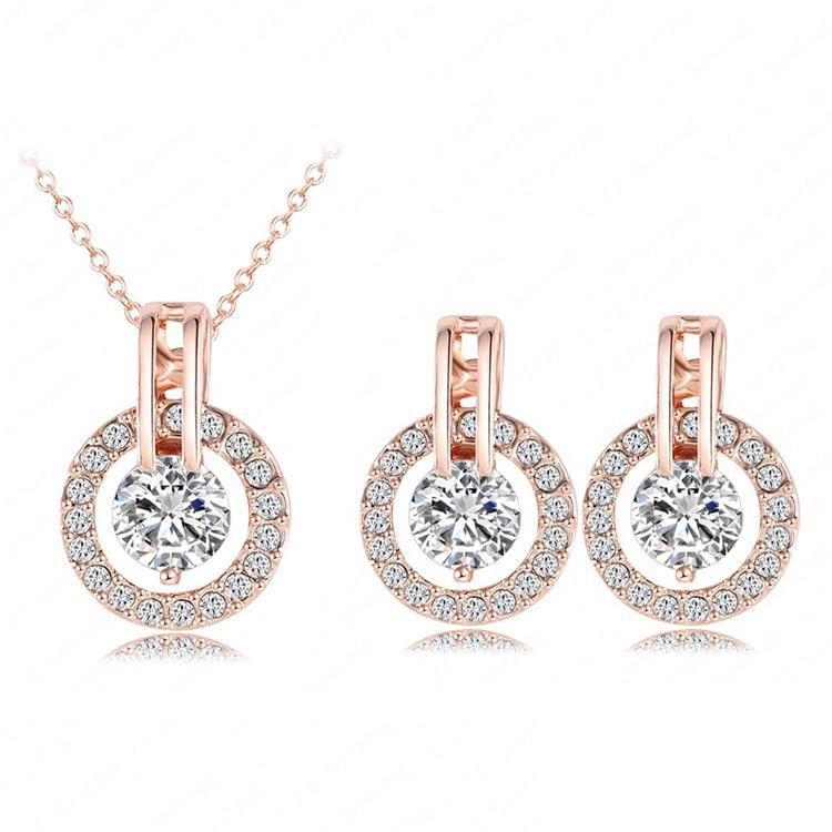 Classic Jewelry Sets Real 18K Rose Gold Plated Austrian Crystal Necklace Pendant/Earring Set For Women ST0017-A Size 12*18mm(China (Mainland))