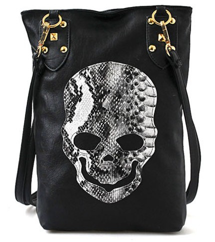 Style Fashion Punk Black Skull Face Designer Pu leather Handbag Women's Shoulder Bag,Lady Cross Body Bag - Friend World store