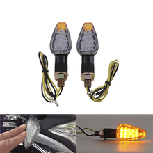 1 pair 14LED Mini Motorcycle Motorbike 2-Wire Turn Signal Indicators Blinker Amber Light 12V Universal for Honda for kawasaki(China (Mainland))