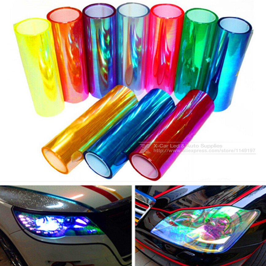 30cm*1m Shiny Chameleon Auto Car Styling Headlights Taillights Translucent film lights Turned Change Color Car Sticks Decoration(China (Mainland))