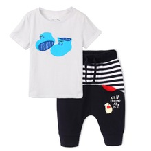 New Fashion Summer Boys/Girls Children's sets, Print Cartoon Shoes Lovely T-shirt and Pants Free Ship(China (Mainland))