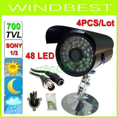 Free Shipping 4PCS/Lot 1/3 SONY CCD Effio-E 700 TVL 48 LED Color Night Vision Indoor/Outdoor Waterproof security IR CCTV Camera(China (Mainland))