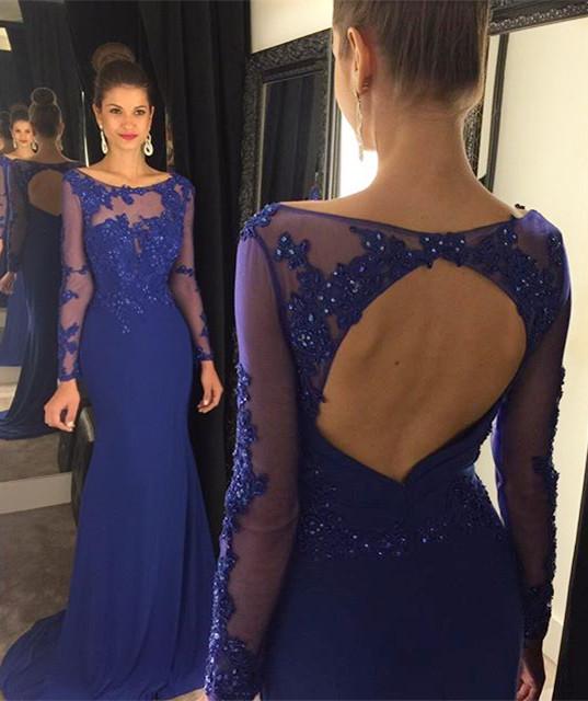 Popular Royal Blue Long Sleeve Dresses-Buy Cheap Royal Blue Long ...