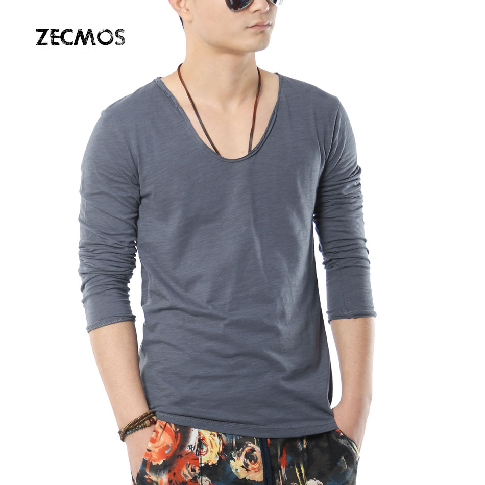 Zecmos Swag Long Sleeve T-shirt Men Fitness V Neck T Shirts For Mens 2015 Fashion Slim Fit TShirts Solid Tops(China (Mainland))