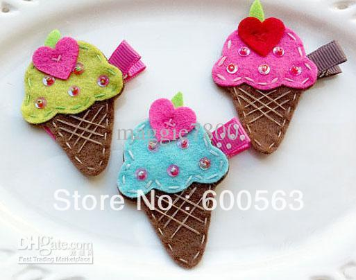 "2"" ice cream Girls cartoon Hair Clips baby Hair Bows handmade Simple wool felt clips 100pcs / lot"
