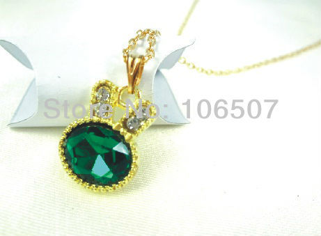 hot lovely cute Romantic Short rabbit emerald nacklace rhinestone clavicle jewelry choker necklace free shipping by express