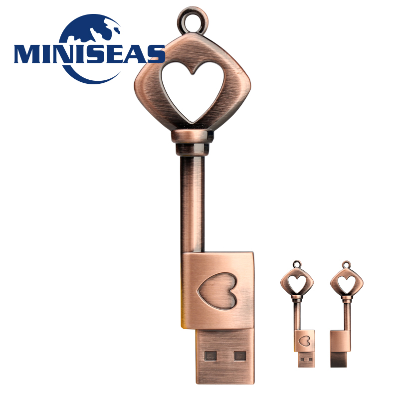 2016 Miniseas Usb Flash Drive Real Capacity Heart Key 8GB 16GB 32GB Memory Usb Stick 2.0 Pen Drive Pendrive For PC Free Shipping(China (Mainland))