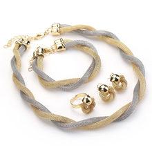 CWEEL Schmuck Set Für Frauen Afrikanische Perlen Schmuck-Set Hochzeit Twist Weave Choker Halskette Braut Dubai Äthiopischen Schmuck Sets(China)