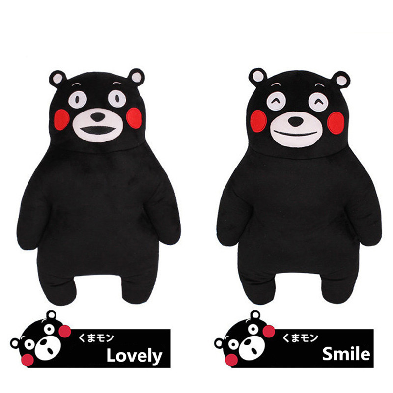 50CM Anime Japan Mascot Kumamon Bear Plush Pillow Adorable Doll 2Styles Cartoon Black Bear Soft Stuffed Animal Toys For Children(China (Mainland))