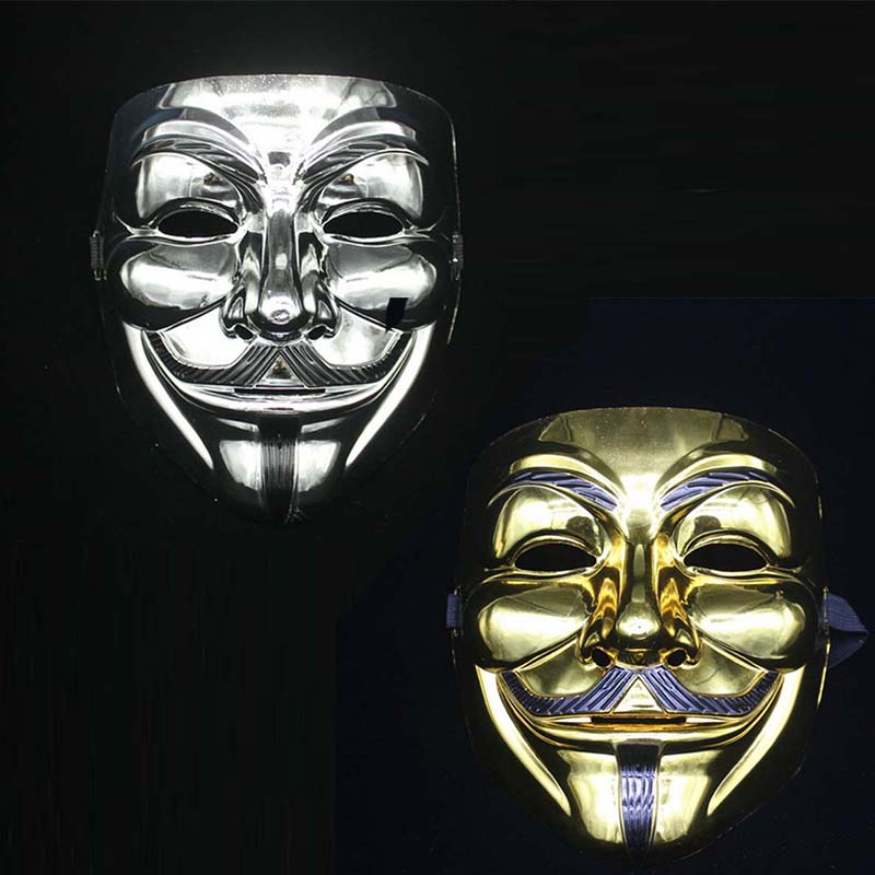 Gold Silver V for Vendetta Guy Fawkes Party Masks Full Face Mask Cosplay Costumes High Quality(China (Mainland))