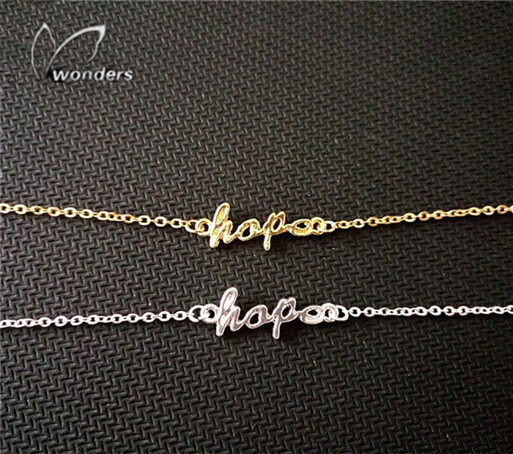 Wholesale 30pcs/lot 2014 Gold/Silver Fine Jewelry Metalwork Everyday Luck Hope Charm Bracelet for Women<br><br>Aliexpress