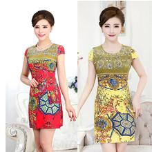 Vestidos L-4XL 2016 New Fashion Women Summer dress Slim Tunic Milk Silk print Floral dresses Casual Plus Size sexy bodycon dress(China (Mainland))