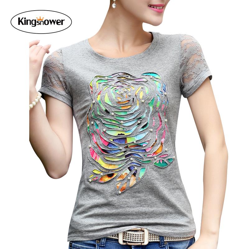 2016 Summer T-shirt Women Lace Short Sleeve T Shirts Female O-neck Patch Nail Bead Peony Printed Tops Shirt Plus Size 4XL J6162(China (Mainland))