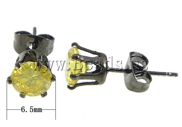 Free shipping!!!316L Stainless Steel Stud Earrin black ion with cubic zirconia,Bulk Jewelry, yellow, 6.50mm, 5Bags/Lot(China (Mainland))