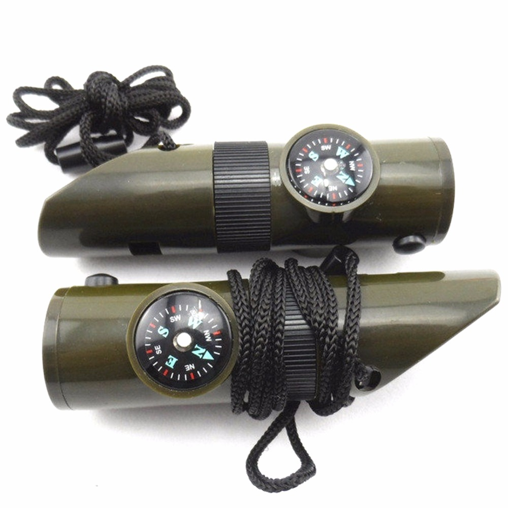 7 in 1 Camping Survival Whistle Kit Compass Thermometer Flashlight Magnifier magnifying glass signal mirror container A6(China (Mainland))