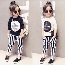 2-7Y, 2016 new baby fashion shirt summer girls shirt letters children T-shirt kids casual long sleeve shirt