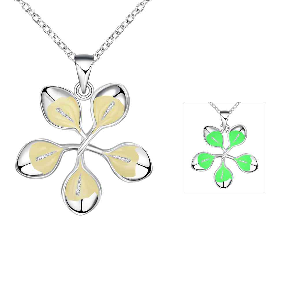 Free Shipping 2016 Glow in the Dark pendants Flowers and leaves collares jewerly accessories LUYN030(China (Mainland))